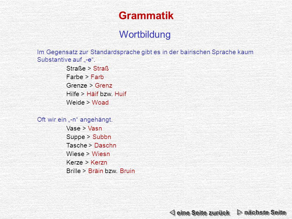 Grammatik Im Gegensatz zur Standardsprache gibt es in der bairischen Sprache kaum Substantive auf -e.