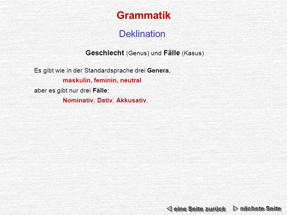 Grammatik Deklination Geschlecht (Genus) und Fälle (Kasus) Es gibt wie in der Standardsprache drei Genera, maskulin, feminin, neutral aber es gibt nur drei Fälle: Nominativ, Dativ, Akkusativ.