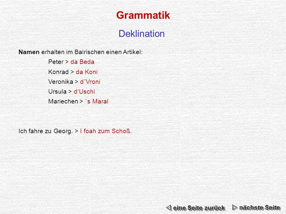 Grammatik Namen erhalten im Bairischen einen Artikel: Peter > da Beda Konrad > da Koni Veronika > d´Vroni Ursula > dUschi Mariechen > `s Maral Ich fahre zu Georg.