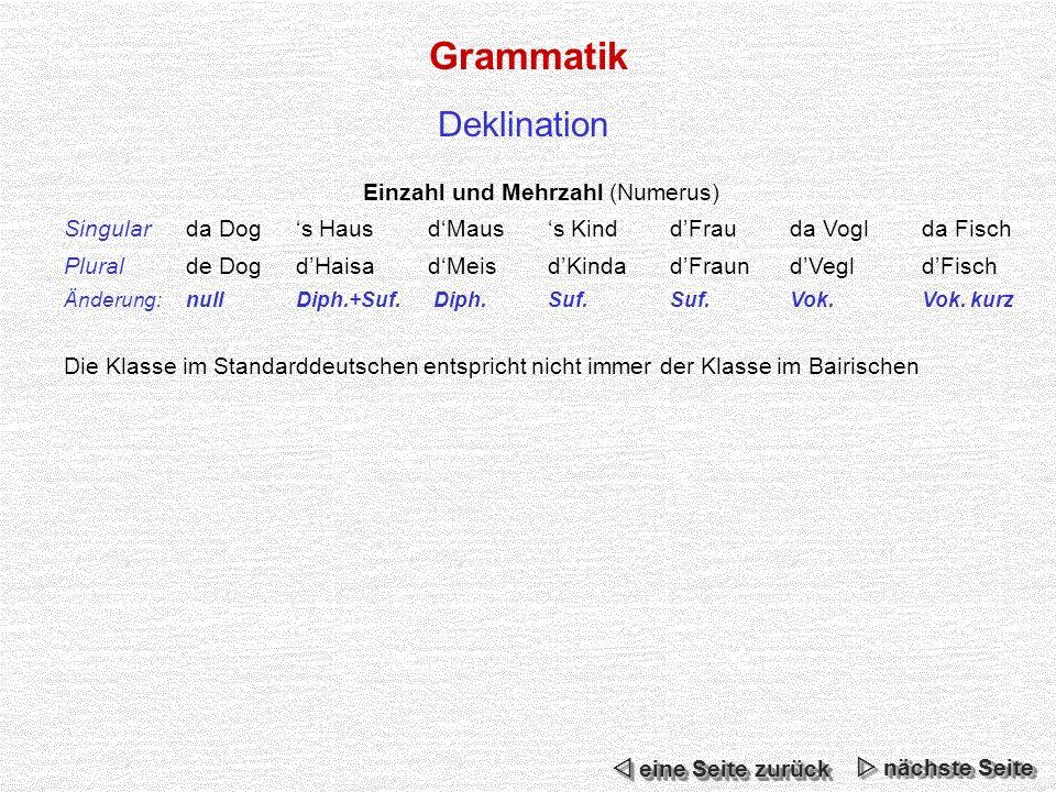 Grammatik Deklination Einzahl und Mehrzahl (Numerus) Singularda Dogs HausdMauss KinddFrauda Voglda Fisch Pluralde DogdHaisadMeisdKindadFraundVegldFisch Änderung:nullDiph.+Suf.