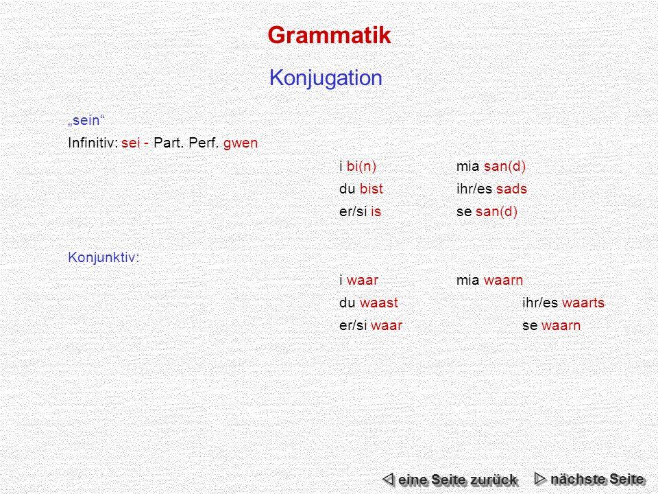 Grammatik Konjugation nächste Seite nächste Seite nächste Seite nächste Seite eine Seite zurück eine Seite zurück eine Seite zurück eine Seite zurück sein Infinitiv: sei - Part.