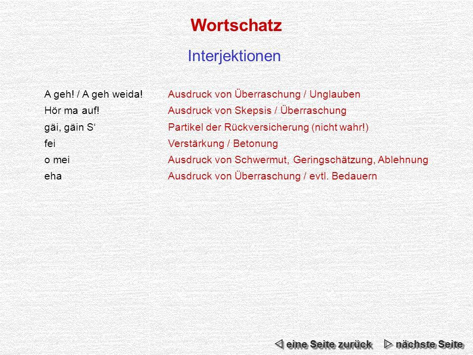 Wortschatz Interjektionen A geh.