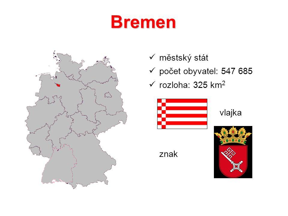 Bremen městský stát počet obyvatel: 547 685 rozloha: 325 km 2 vlajka znak