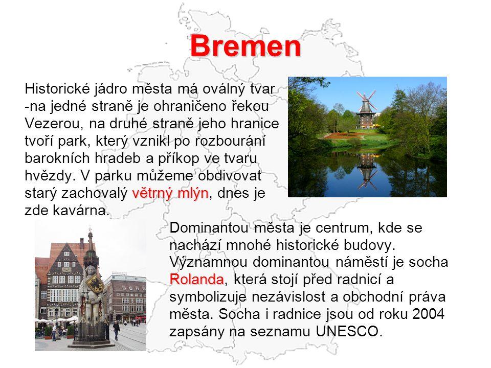 Bremen Historické jádro města má oválný tvar -na jedné straně je ohraničeno řekou Vezerou, na druhé straně jeho hranice tvoří park, který vznikl po ro
