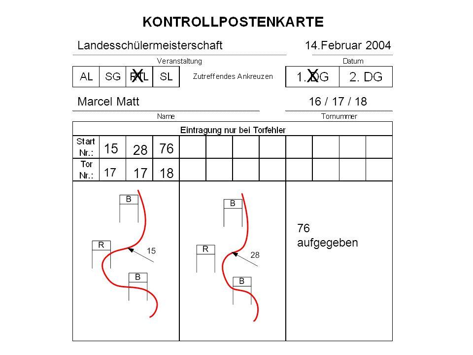 Landesschülermeisterschaft14.Februar 2004 Marcel Matt16 / 17 / 18 X 15 17 X 28 17 76 aufgegeben 76 18