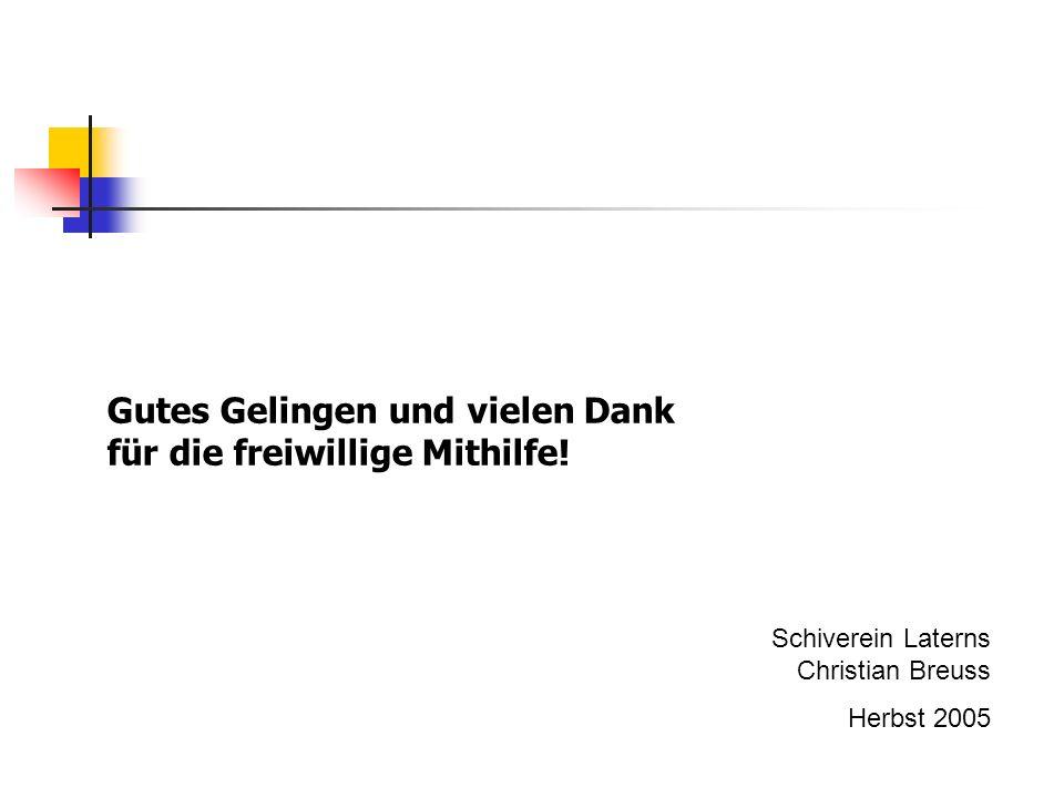 Gutes Gelingen und vielen Dank für die freiwillige Mithilfe! Schiverein Laterns Christian Breuss Herbst 2005