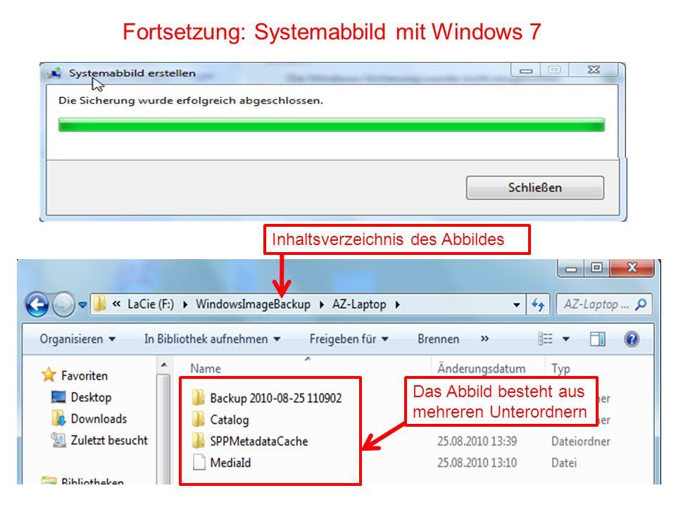 Fortsetzung: Systemabbild mit Windows 7 Inhaltsverzeichnis des Abbildes Das Abbild besteht aus mehreren Unterordnern