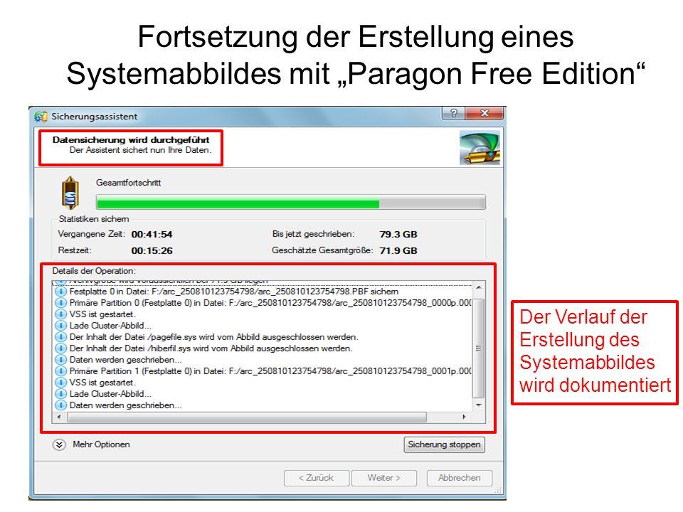 Fortsetzung der Erstellung eines Systemabbildes mit Paragon Free Edition Der Verlauf der Erstellung des Systemabbildes wird dokumentiert