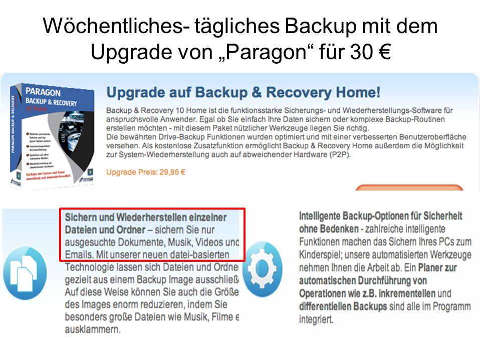 Wöchentliches- tägliches Backup mit dem Upgrade von Paragon für 30
