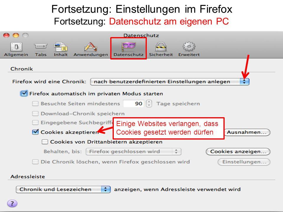 Fortsetzung: Einstellungen im Firefox Fortsetzung: Datenschutz am eigenen PC Einige Websites verlangen, dass Cookies gesetzt werden dürfen