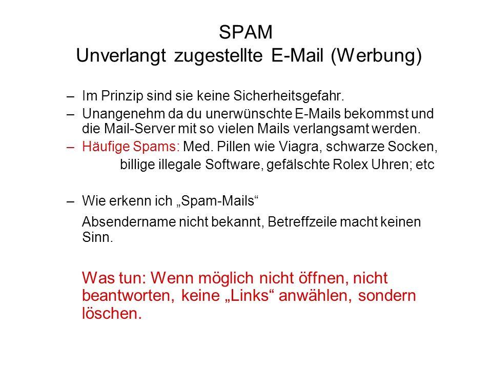 SPAM Unverlangt zugestellte E-Mail (Werbung) –Im Prinzip sind sie keine Sicherheitsgefahr. –Unangenehm da du unerwünschte E-Mails bekommst und die Mai