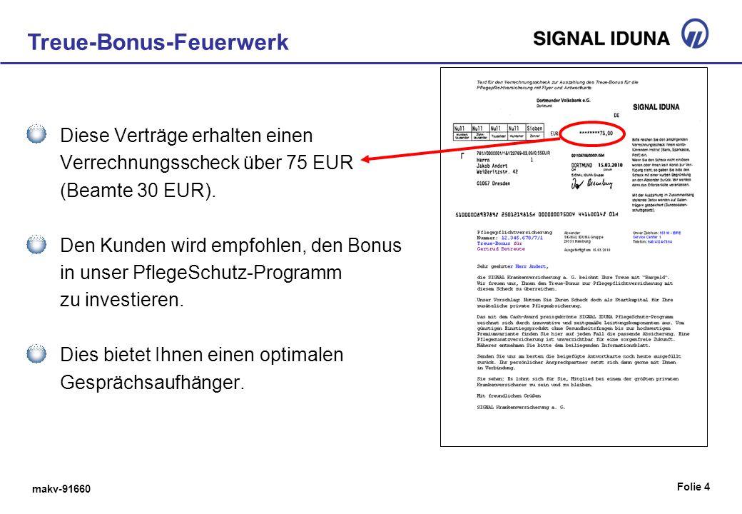 makv-91660 Folie 5 Treue-Bonus-Feuerwerk Knapp 310.000 Versicherungsnehmer erhalten am 15.03.2010 einen Scheck, selektierte Kunden zusätzlich ein Info-Blatt mit Antwortkarte.