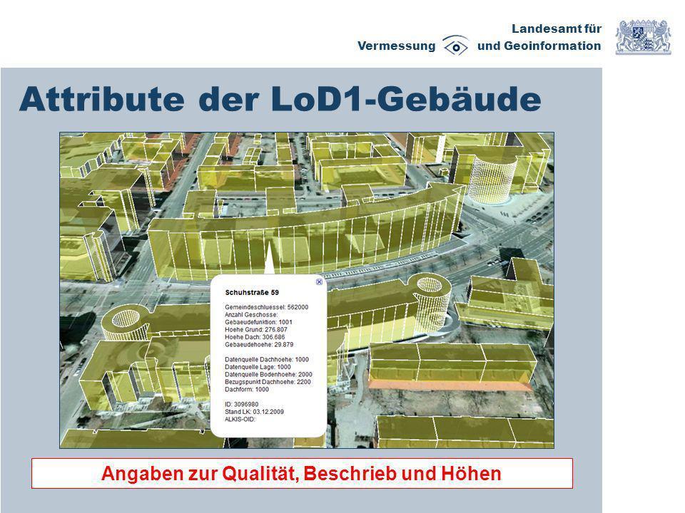 Landesamt für Vermessung und Geoinformation Attribute der LoD1-Gebäude Angaben zur Qualität, Beschrieb und Höhen