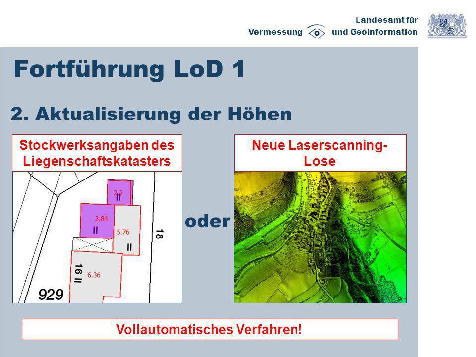 Landesamt für Vermessung und Geoinformation Fortführung LoD 1 2. Aktualisierung der Höhen Stockwerksangaben des Liegenschaftskatasters Neue Laserscann