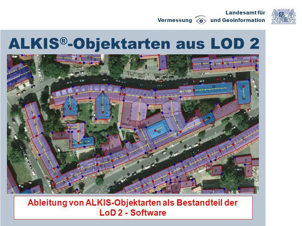 Landesamt für Vermessung und Geoinformation ALKIS ® -Objektarten aus LOD 2 Ableitung von ALKIS-Objektarten als Bestandteil der LoD 2 - Software