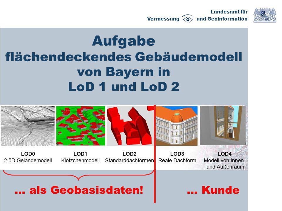 Landesamt für Vermessung und Geoinformation Aufgabe flächendeckendes Gebäudemodell von Bayern in LoD 1 und LoD 2 … als Geobasisdaten!… Kunde