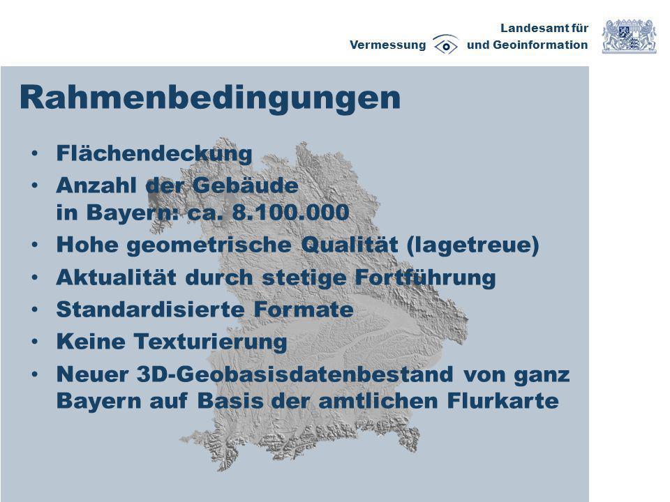 Landesamt für Vermessung und Geoinformation Erstableitung Gebäude- ableitung Export Vorhandene Geobasisdaten LoD 1 LoD 2 Software LoD 1LoD 2