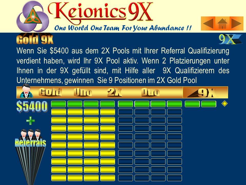 Wenn Sie $5400 aus dem 2X Pools mit Ihrer Referral Qualifizierung verdient haben, wird Ihr 9X Pool aktiv.