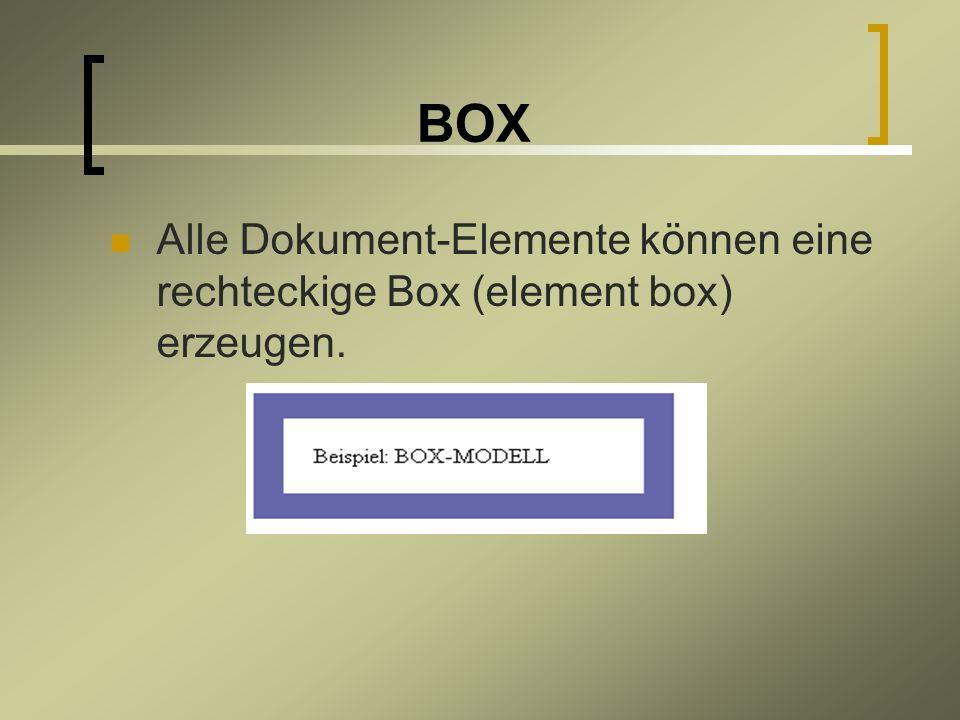 BOX Alle Dokument-Elemente können eine rechteckige Box (element box) erzeugen.