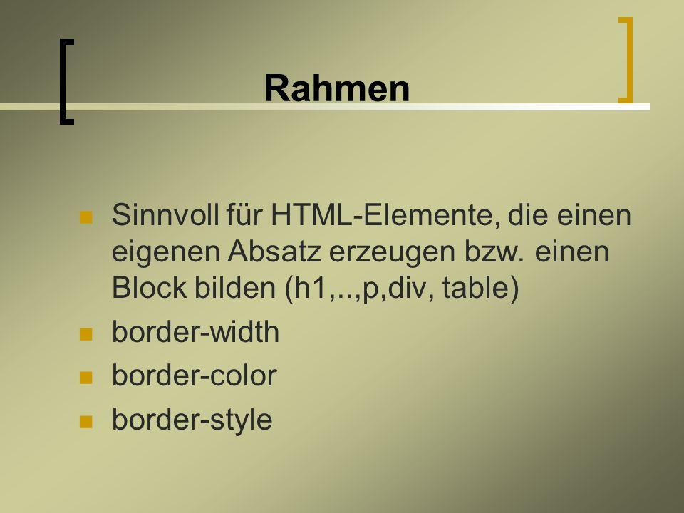 Rahmen Sinnvoll für HTML-Elemente, die einen eigenen Absatz erzeugen bzw.
