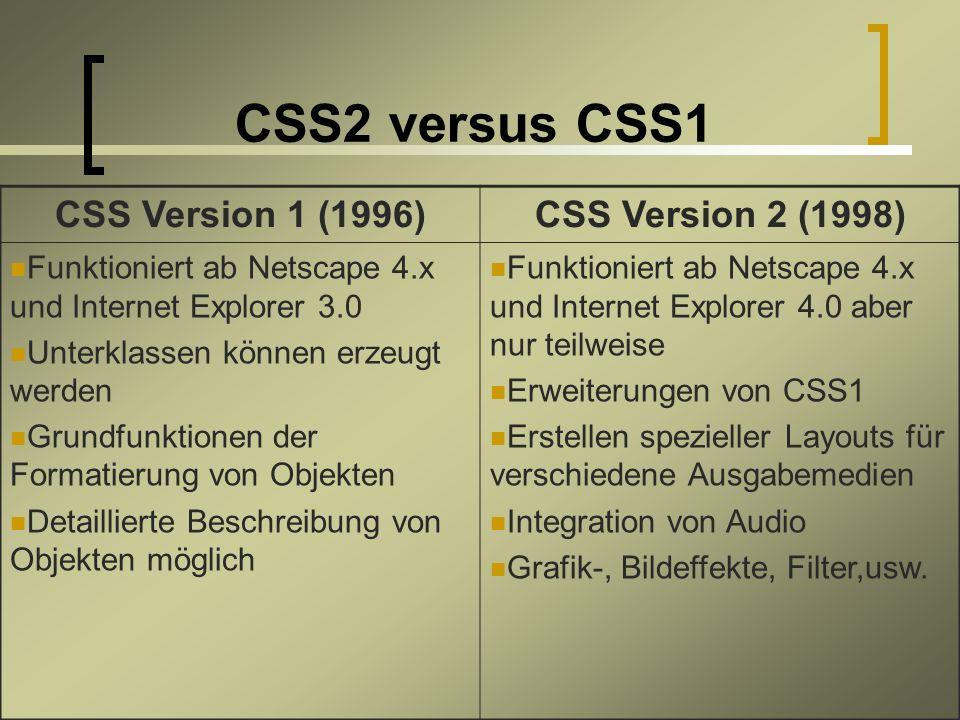 CSS2 versus CSS1 CSS Version 1 (1996)CSS Version 2 (1998) Funktioniert ab Netscape 4.x und Internet Explorer 3.0 Unterklassen können erzeugt werden Grundfunktionen der Formatierung von Objekten Detaillierte Beschreibung von Objekten möglich Funktioniert ab Netscape 4.x und Internet Explorer 4.0 aber nur teilweise Erweiterungen von CSS1 Erstellen spezieller Layouts für verschiedene Ausgabemedien Integration von Audio Grafik-, Bildeffekte, Filter,usw.