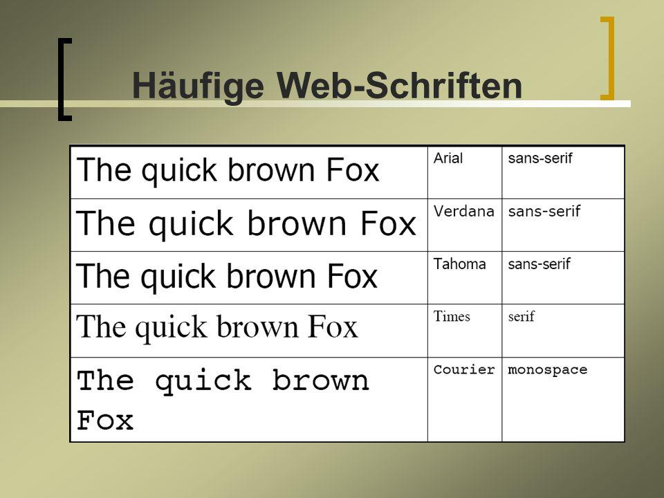 Häufige Web-Schriften