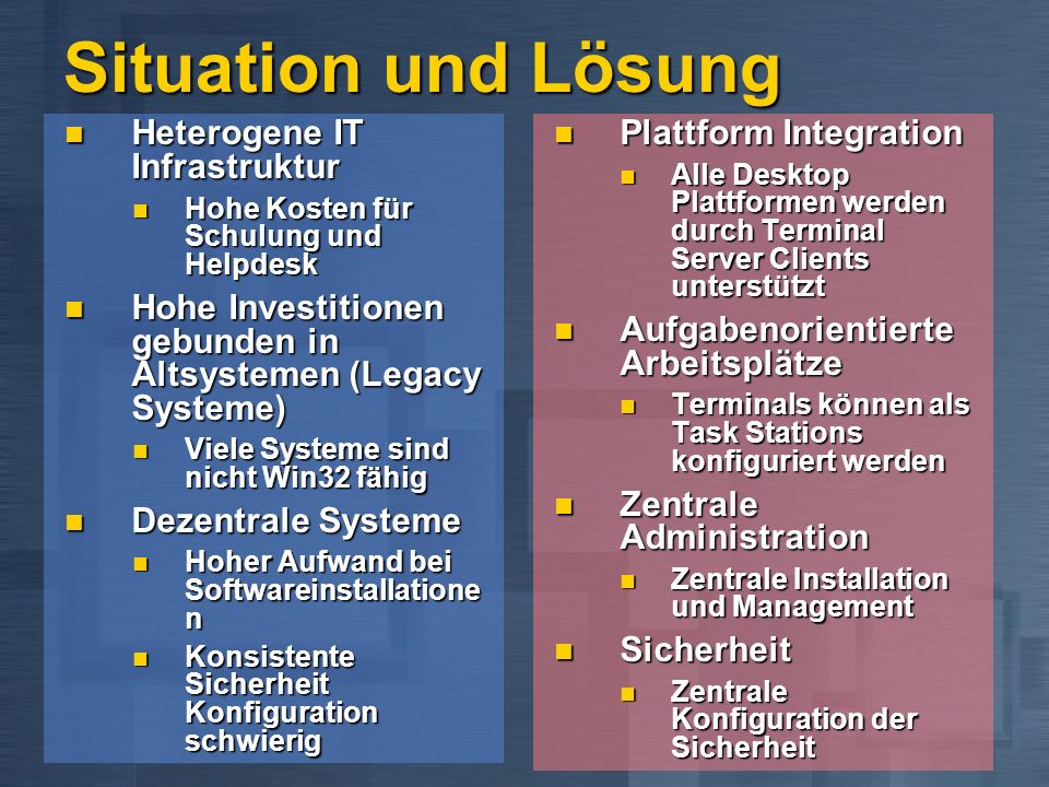 Situation und Lösung Heterogene IT Infrastruktur Heterogene IT Infrastruktur Hohe Kosten für Schulung und Helpdesk Hohe Kosten für Schulung und Helpde