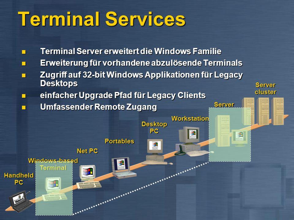 Terminal Server erweitert die Windows Familie Terminal Server erweitert die Windows Familie Erweiterung für vorhandene abzulösende Terminals Erweiteru