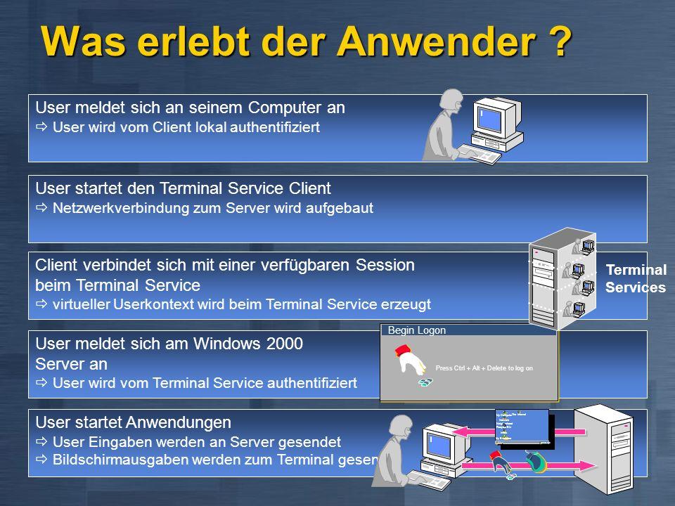 User startet den Terminal Service Client Netzwerkverbindung zum Server wird aufgebaut Client verbindet sich mit einer verfügbaren Session beim Termina