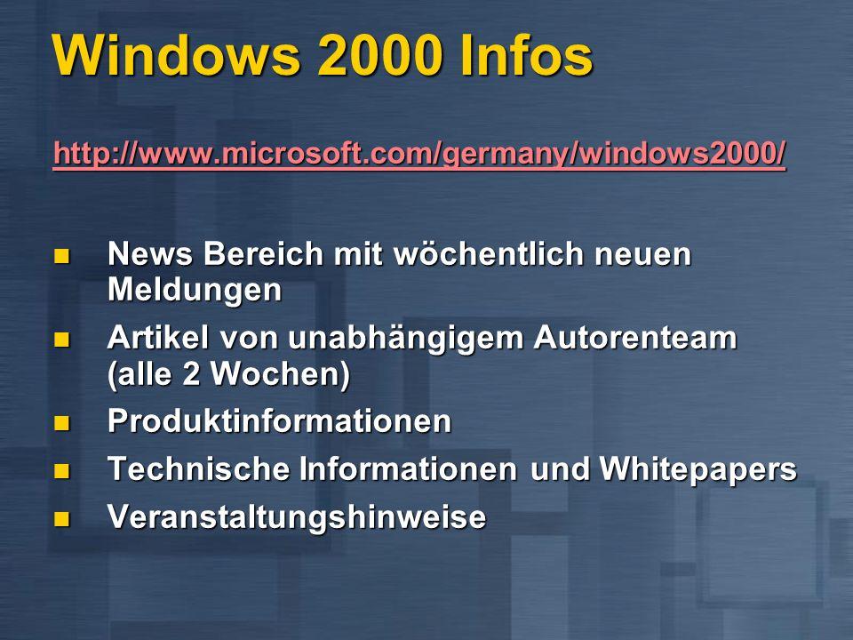 Windows 2000 Infos http://www.microsoft.com/germany/windows2000/ News Bereich mit wöchentlich neuen Meldungen News Bereich mit wöchentlich neuen Meldu