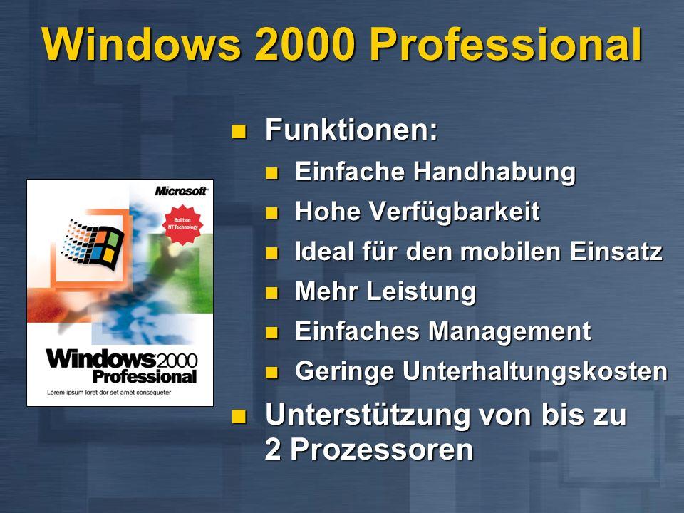 Windows 2000 Professional Funktionen: Funktionen: Einfache Handhabung Einfache Handhabung Hohe Verfügbarkeit Hohe Verfügbarkeit Ideal für den mobilen Einsatz Ideal für den mobilen Einsatz Mehr Leistung Mehr Leistung Einfaches Management Einfaches Management Geringe Unterhaltungskosten Geringe Unterhaltungskosten Unterstützung von bis zu 2 Prozessoren Unterstützung von bis zu 2 Prozessoren
