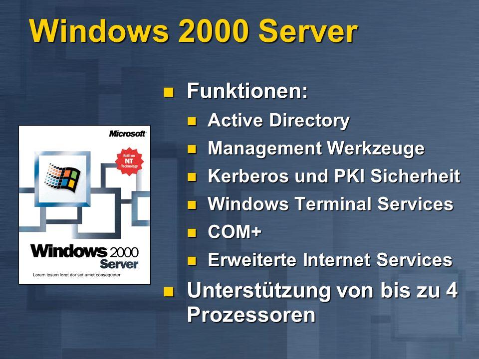 Windows 2000 Adv.Server Funktionen: Funktionen: Alle Funktionen von Windows 2000 Server Alle Funktionen von Windows 2000 Server TCP/IP Lastverteilung TCP/IP Lastverteilung 2 Knoten Cluster 2 Knoten Cluster Unterstützt bis zu 64GB Hauptspeicher...