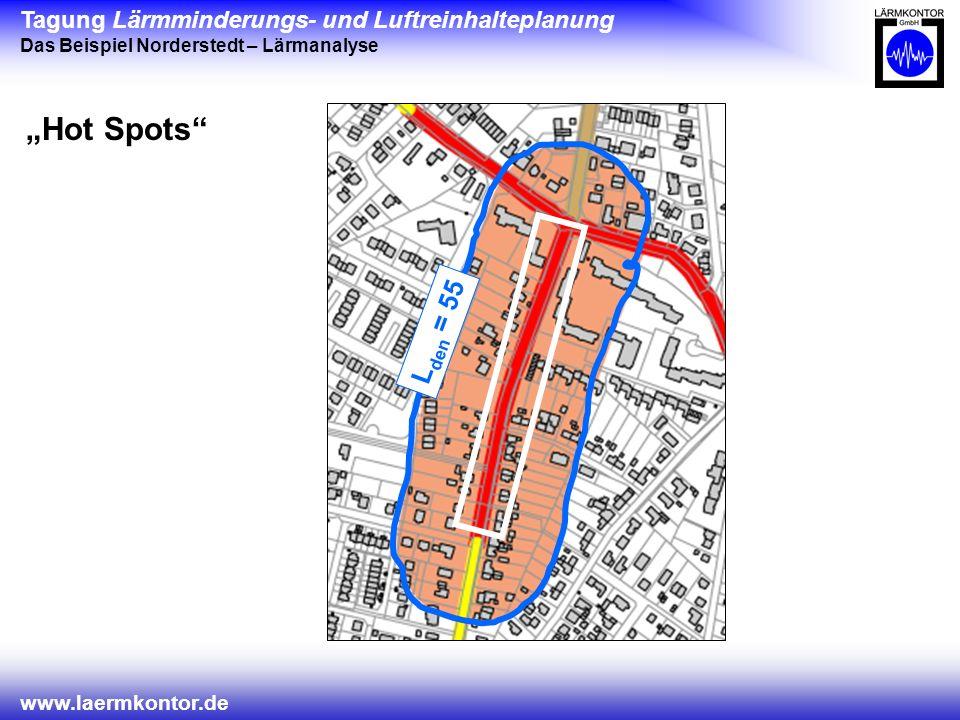 Tagung Lärmminderungs- und Luftreinhalteplanung Das Beispiel Norderstedt – Lärmanalyse www.laermkontor.de Hot Spots L den = 55