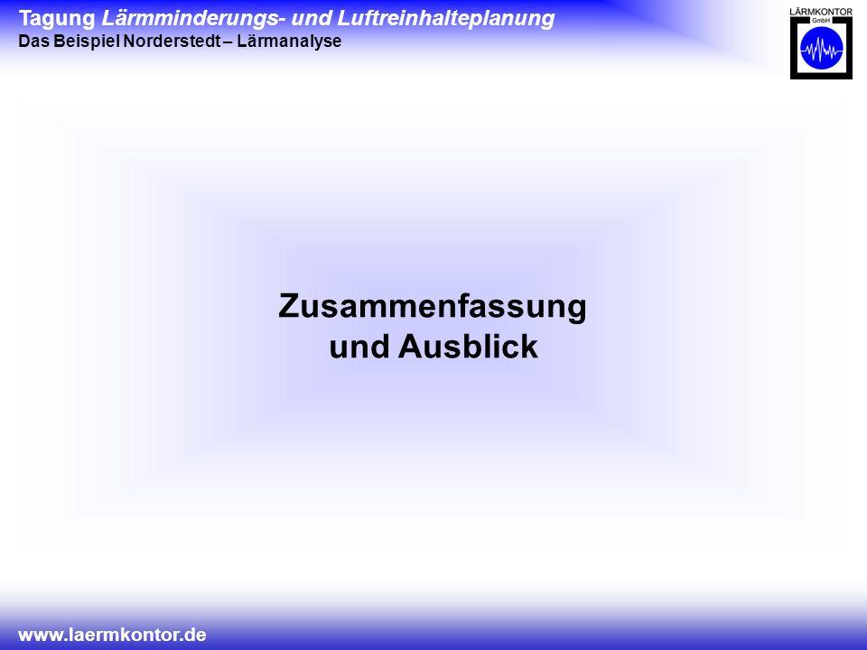 Tagung Lärmminderungs- und Luftreinhalteplanung Das Beispiel Norderstedt – Lärmanalyse www.laermkontor.de Zusammenfassung und Ausblick