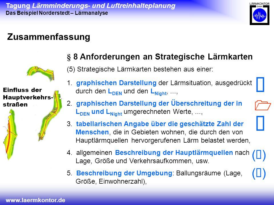 Tagung Lärmminderungs- und Luftreinhalteplanung Das Beispiel Norderstedt – Lärmanalyse www.laermkontor.de Einfluss der Hauptverkehrs- straßen Zusammenfassung § 8 Anforderungen an Strategische Lärmkarten (5) Strategische Lärmkarten bestehen aus einer: ( ) 1.