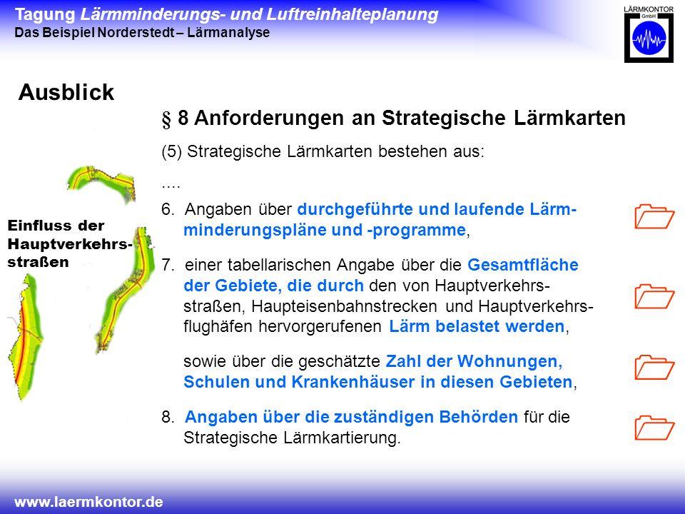 Tagung Lärmminderungs- und Luftreinhalteplanung Das Beispiel Norderstedt – Lärmanalyse www.laermkontor.de Einfluss der Hauptverkehrs- straßen Ausblick 6.