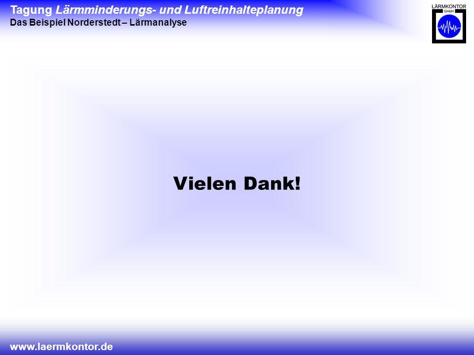 Tagung Lärmminderungs- und Luftreinhalteplanung Das Beispiel Norderstedt – Lärmanalyse www.laermkontor.de Vielen Dank!