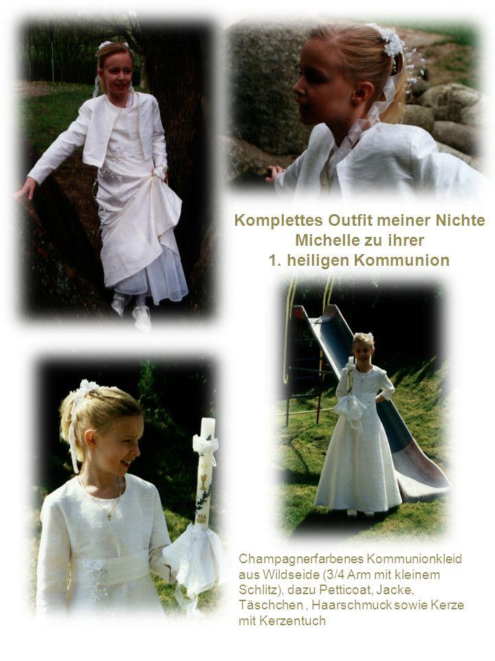 Komplettes Outfit meiner Nichte Michelle zu ihrer 1. heiligen Kommunion Champagnerfarbenes Kommunionkleid aus Wildseide (3/4 Arm mit kleinem Schlitz),