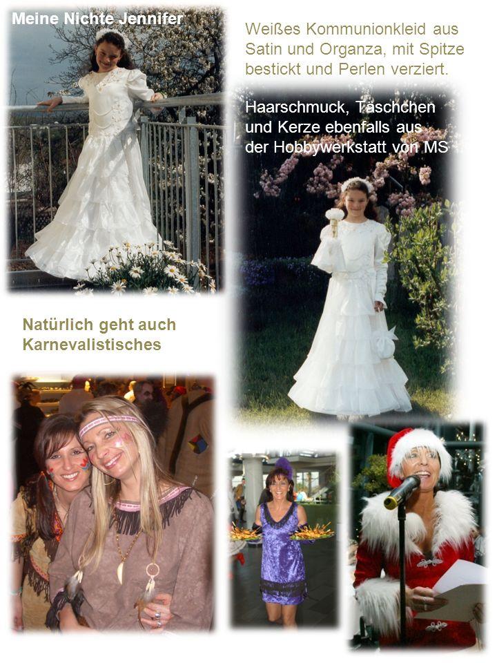Weißes Kommunionkleid aus Satin und Organza, mit Spitze bestickt und Perlen verziert. Meine Nichte Jennifer Haarschmuck, Täschchen und Kerze ebenfalls