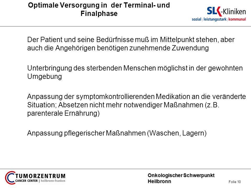 Onkologischer Schwerpunkt Heilbronn Onkologischer Schwerpunkt Heilbronn Folie 10 Optimale Versorgung in der Terminal- und Finalphase Der Patient und s