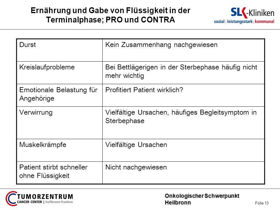 Onkologischer Schwerpunkt Heilbronn Onkologischer Schwerpunkt Heilbronn Folie 13 Ernährung und Gabe von Flüssigkeit in der Terminalphase; PRO und CONT