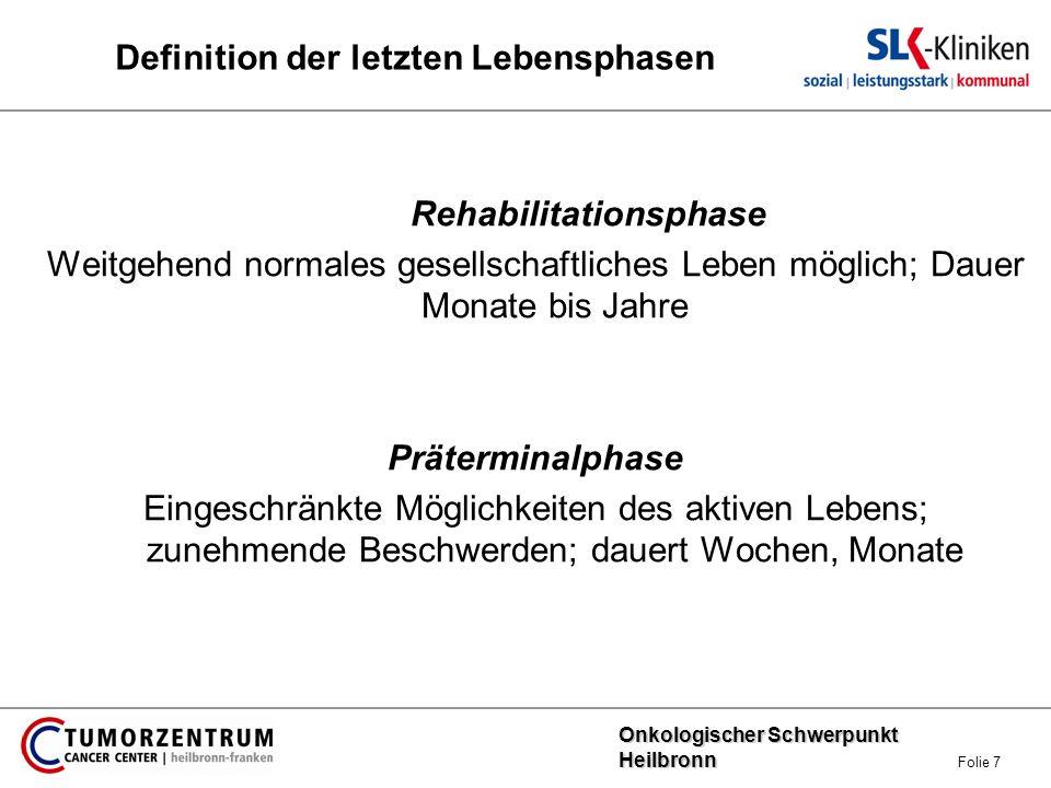 Onkologischer Schwerpunkt Heilbronn Onkologischer Schwerpunkt Heilbronn Folie 8 Definition der letzten Lebensphasen Terminalphase Zunehmende Bettlägerigkeit, Rückzug nach innen.