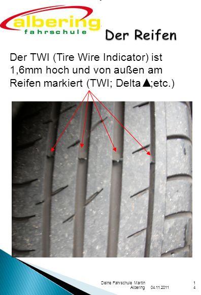 04.11.2011 Deine Fahrschule Martin Albering14 Der Reifen Der TWI (Tire Wire Indicator) ist 1,6mm hoch und von außen am Reifen markiert (TWI; Delta ;etc.)