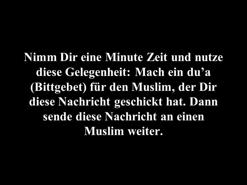Nimm Dir eine Minute Zeit und nutze diese Gelegenheit: Mach ein dua (Bittgebet) für den Muslim, der Dir diese Nachricht geschickt hat. Dann sende dies