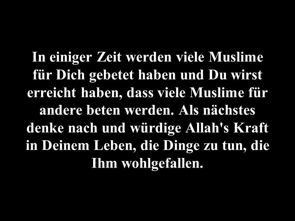 In einiger Zeit werden viele Muslime für Dich gebetet haben und Du wirst erreicht haben, dass viele Muslime für andere beten werden. Als nächstes denk