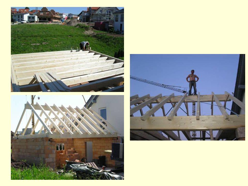 Nach der Fertigstellung der Garage, wurde das Dach aufgerichtet