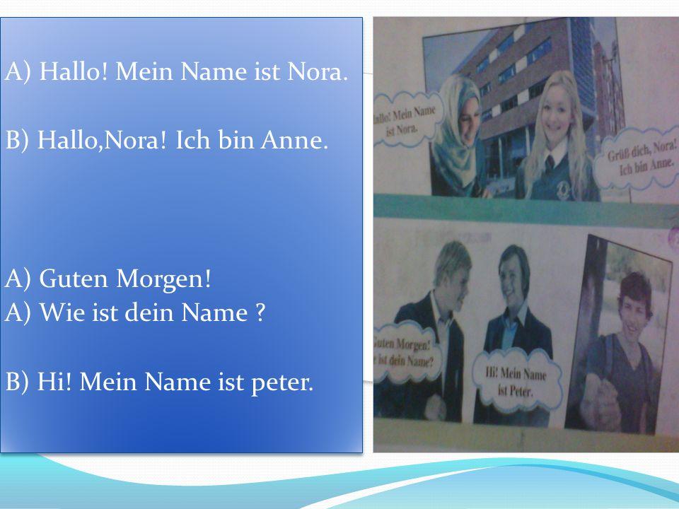 A) Hallo! Mein Name ist Nora. B) Hallo,Nora! Ich bin Anne. A) Guten Morgen! A) Wie ist dein Name ? B) Hi! Mein Name ist peter. A) Hallo! Mein Name ist