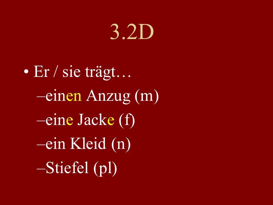 3.2D Er / sie trägt… –einen Anzug (m) –eine Jacke (f) –ein Kleid (n) –Stiefel (pl)