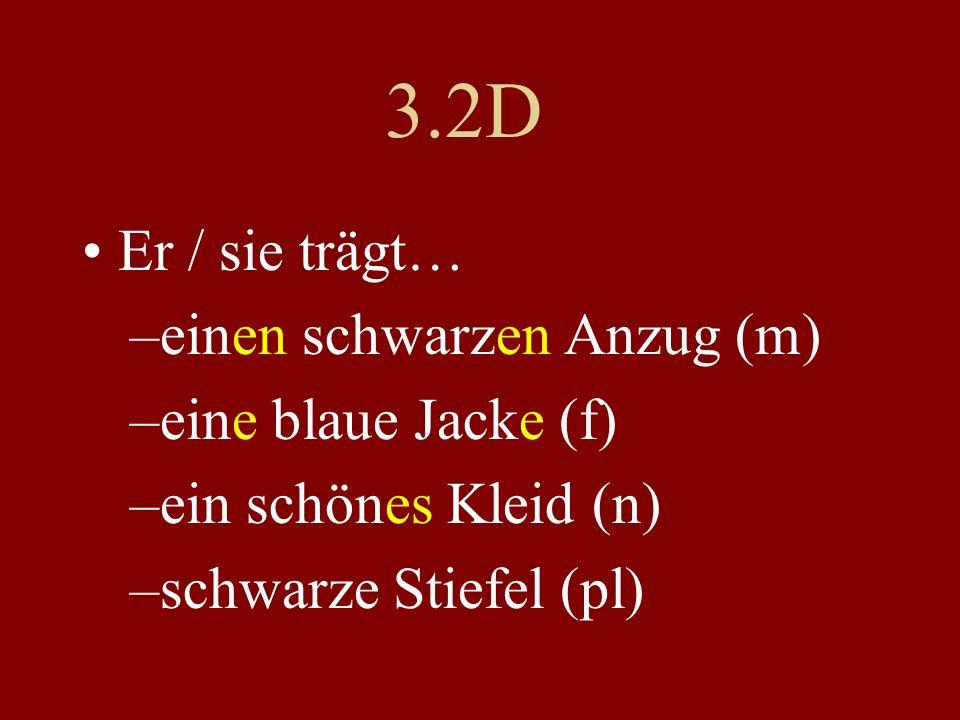 3.2D Er / sie trägt… –einen schwarzen Anzug (m) –eine blaue Jacke (f) –ein schönes Kleid (n) –schwarze Stiefel (pl)