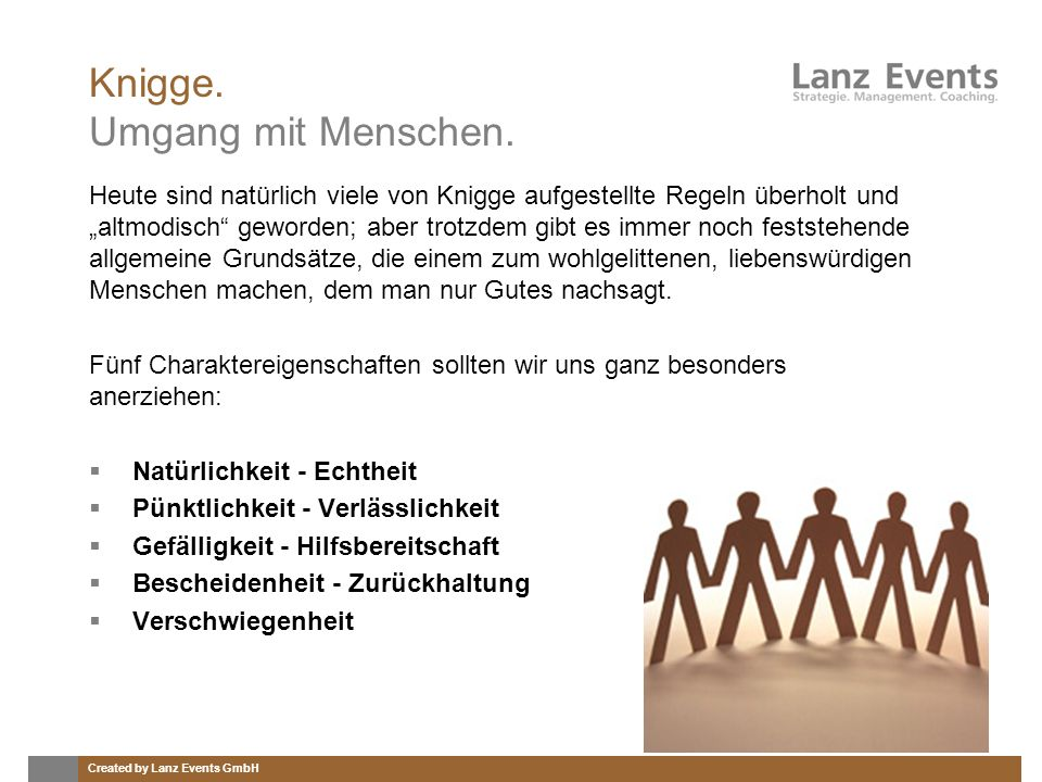 Created by Lanz Events GmbH Knigge.Umgang mit Menschen.